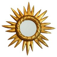 French Gilt Wood Sunburst Mirror