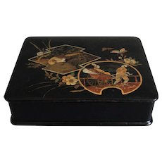 French Chinoiserie Papier Mache Lacquer Box