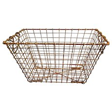 Vintage French Wire Oyster Basket with Handles