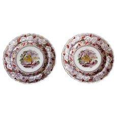 Antique Ridgways 'Oriental' Mulberry Purple Plates, Pair