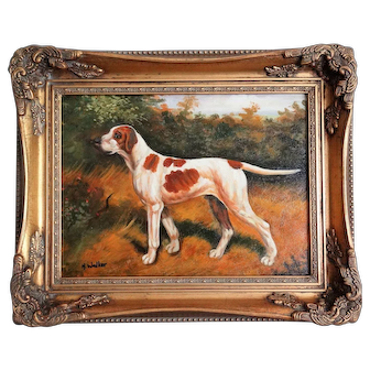 Hunting Sporting Dog Oil Portrait Painting, Giltwood Frame