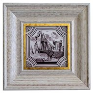 19th-Century Dutch Delft Polychrome Tile, Framed, Ship