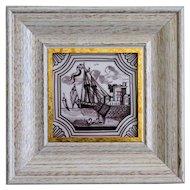 19th-Century Dutch Delft Polychrome Tile, Framed, Ship