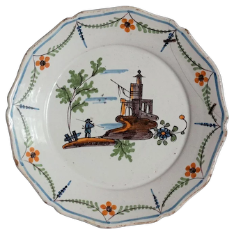 18th-Century Nevers French Revolutionary War Plate, Circa 1790, with Staple