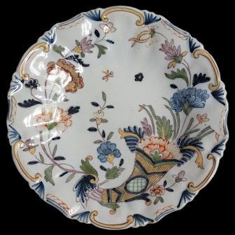 Antique French Rouen Faience Cornucopia Wall Plate 19th-Century