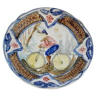 Antique Majolica Plate with Bicycle, Continental