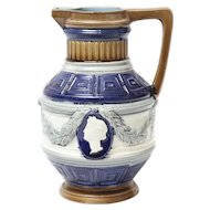 English Cobalt Majolica Jug Pitcher with Cameo Portrait