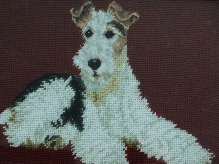 Antique English Needlepoint Terrier Dog, Black Forest Frame : Faded ...
