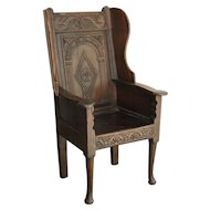 Antique Georgian Oak Wainscot Manor Chair