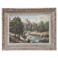French 19th-Century Continental Alpine Landscape, Oil on Canvas