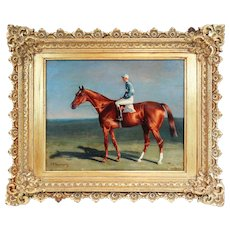 Racehorse & Jockey, Oil on Board, John Charles Tunnard, 19th-C