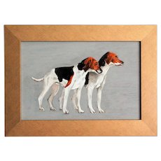 Foxhound Dogs Portrait Oil on Board