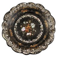 Antique Papier Mache Tray / Wine Coaster with Mother of Pearl