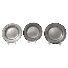 Antique Pewter Plates, Set of 3, Continental