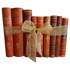 Decorative Leather Books Set of 9 Swedish Marbled Boards
