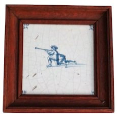 18th-C Dutch Delft Tile with Rifleman Figure