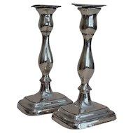 "10"" Tall Silver Plate Candlesticks, England, Pair"