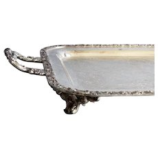 Footed Silver Plate Serving Tray With Handles
