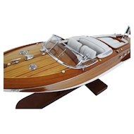 1940's Runabout Speed Boat Model, Leather & Mahogany
