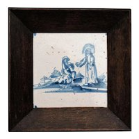 Antique Biblical Delft Tile in Oak Frame