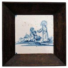 Antique Biblical Delft Tile in Oak Frame