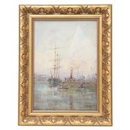 Seascape Watercolor, Scottish Artist T S Bells, Gilt Wood Frame