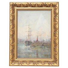 Seascape Watercolor, Scottish Artist T S Bells, Gilt Wood Frame