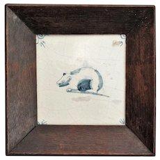 Antique Dutch Delft Tile, Polar Bear, Framed, 17th-Century