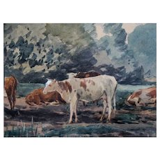 Cattle in Bucolic Landscape Watercolor - Red Tag Sale Item