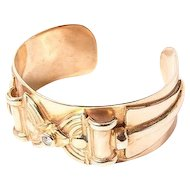 Vintage sterling silver gold plated cuff bracelet with zirconia