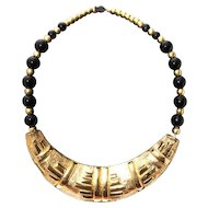 Vintage sterling silver gold plated handmade Turkish necklace with onyx