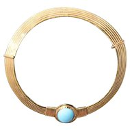 Vintage sterling silver gold plated necklace with faux turquoise