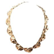 Vintage sterling silver gold plated handmade necklace