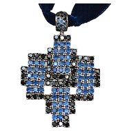Vintage sterling silver multicolored zirconia cross pendant