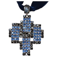 Vintage sterling silver multicolored zirconia cross pendant