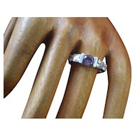 Vintage sterling silver amethyst ring with zirconia