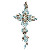 Vintage sterling silver cross pendant with cz topaz and citrine