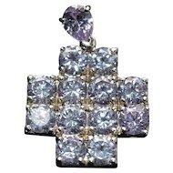 Vintage sterling silver amethyst cross pendant
