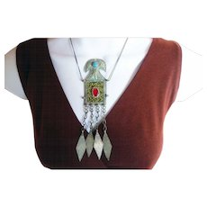 Vintage mosaic Turkoman ethnic pendant