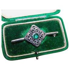 Vintage Chech art deco style filigree emerald moonstone bar brooch pin