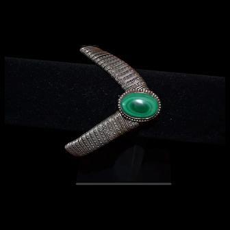 Vintage sterling silver bracelet with malachite