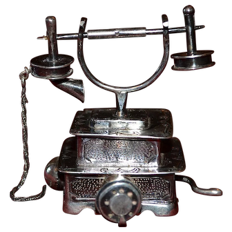 Vintage sterling silver decorative telephone