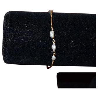 Vintage 14K gold chain bracelet with fresh water cultured pearls