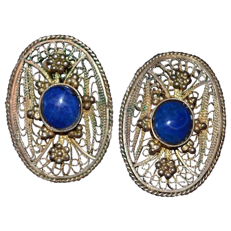 Vintage gold plated handmade filigree clip earrings with lapis