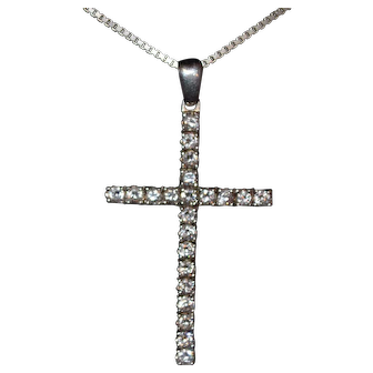 Vintage sterling silver pendant cross with zirconia