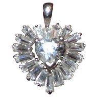 Vintage sterling silver pendant heart shaped with cubic zirconia