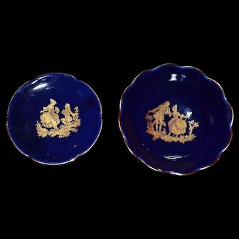 Limoges France vintage set of 2 miniature plates decorative or Dollhouse