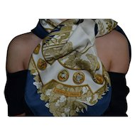 Hermes authentic silk scarf Le Debuche vintage