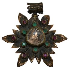 Vintage Turkish bronze pendant handmade with rubies and emeralds