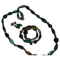 Vintage set of malachite necklace, bracelet and earrings